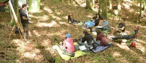 Teilnehmergruppe im Wald