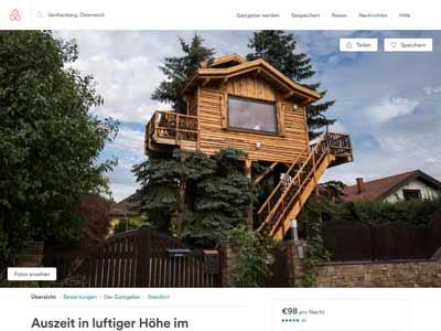 NEVEREST: Screenshot Homepage Baumhaus