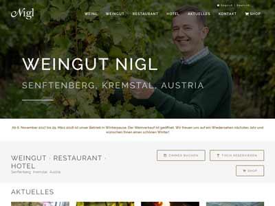 NEVEREST: Screenshot Homepage Weingut Nigl