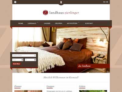 NEVEREST: Screenshot Homepage Landhaus Zierlinger